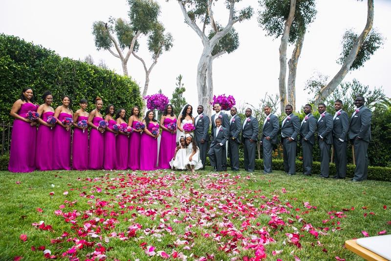 Brides bridesmaids photos magenta bridesmaids and for Magenta dress for wedding