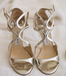 Jimmy Choo silver strappy sandal shoes
