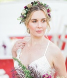 vibrant eclectic flower crown natural california boho chic wedding styled shoot unique bright