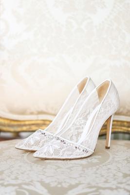wedding shoes monique lhuillier heels pump crystal detail at toe floral lace