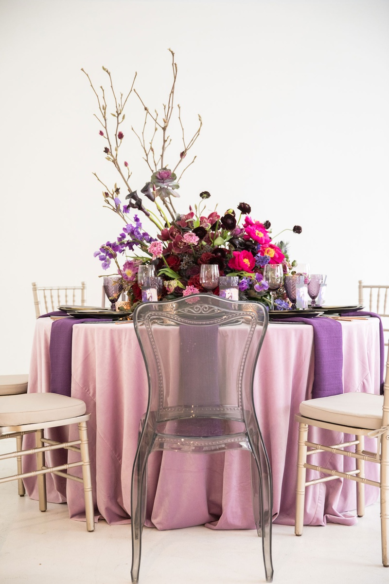 Wedding Reception Single Chair With Grey Ghost Chair Purple Pink  Centerpiece Branches