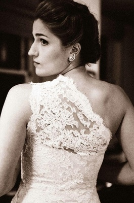 Black and white photo of Chantilly lace shoulder