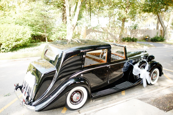 wedding ceremony at church grand exit vintage car