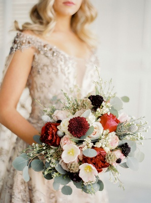 mariana paola vicente wedding bouquet red peony and dahlia scabiosa pods eucalyptus roses greenery