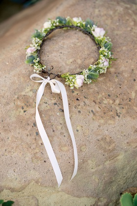 wedding accessories pink white flower rose bud with greenery halo light pink ribbon rustic wedding
