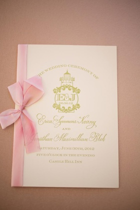 Pink and gold wedding program with monogram