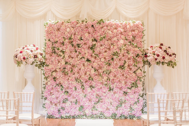 Ceremony dcor photos pink flower wall at ceremony inside weddings wedding ceremony decor white drapery curtains white vase pink flowers pink green flower wall altar mightylinksfo Gallery