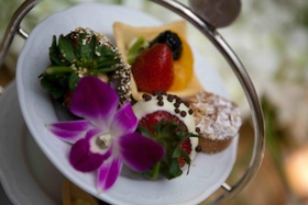 Wedding reception desserts of chocolate dipped strawberries and mini fruit tarts