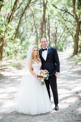 southern destination wedding couple bride in mark ingram atelier wedding dress groom in tuxedo tie