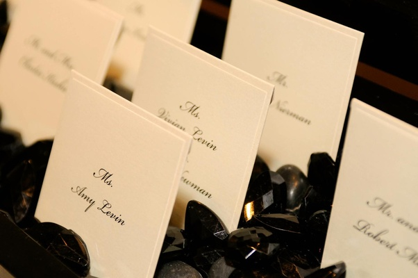Seating card display in black crystals