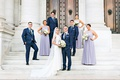 Wedding party in washington dc lavender high neck bridesmaid dresses groomsmen in navy blue suits