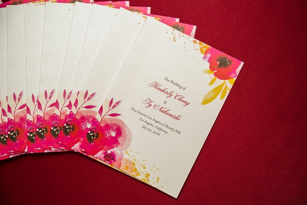 wedding ceremony program watercolor red poppy design