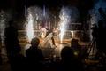 first-dance, fireworks Indian bride and Catholic groom interfaith wedding ceremonies