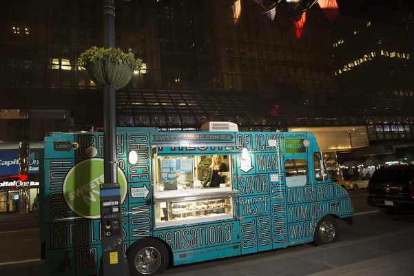 Wedding reception at Cipriani Wall Street with Sweetery truck parked outside