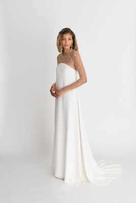"Alexandra Grecco fall winter 2018 ""The Magic Hour"" wedding dress Cohen sheath over sheer long sleeve"