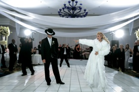 Funny wedding dance at reception for guests