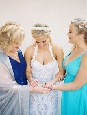 "CJ ""Lana"" Perry and her mother and sister bridesmaid at wedding in Malibu"