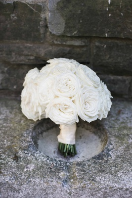 simple classic bridal bouquet with white roses