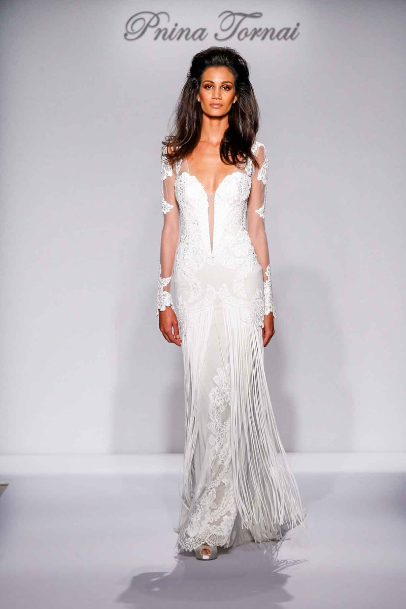 Pnina Tornai for Kleinfeld 2016 illusion long sleeve wedding dress with fringe skirt