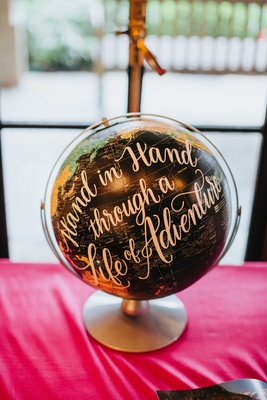 black globe with golden calligraphy for guest book