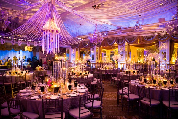 New york city wedding filled with opulent dcor and florals inside pink and blue lighting in the pierre in nyc junglespirit Choice Image