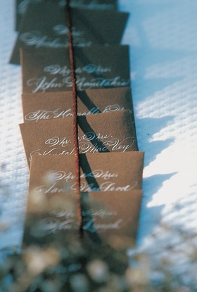 Chocolate escort card with white letters
