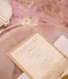 White and gold border wedding dinner menu stationery