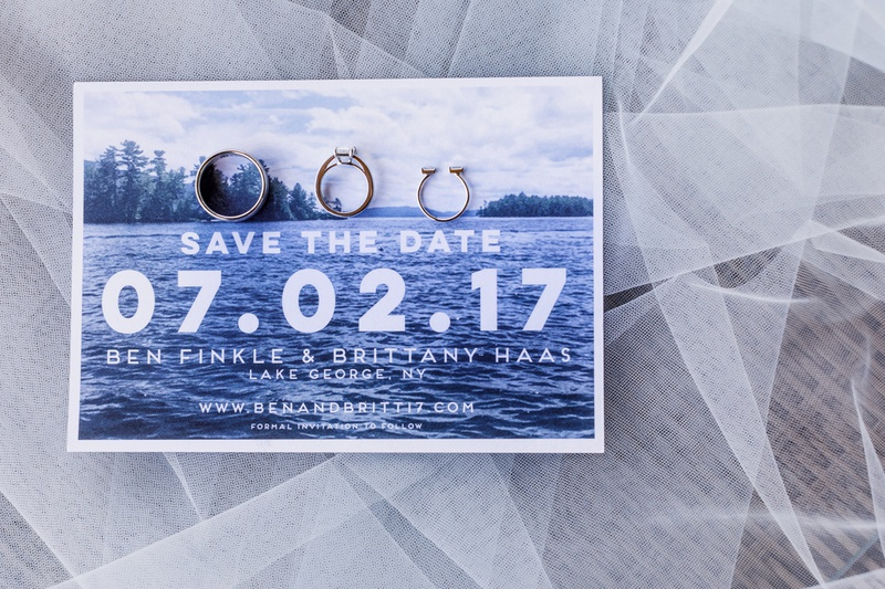 save the date card with modern font, photo of lake george, new york