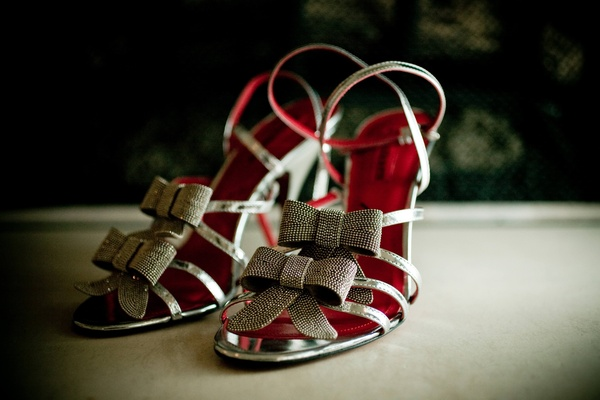 sandals with two sparkly silver bows and silver straps