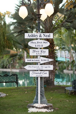 White pole with first kiss first met and other cute wedding signs