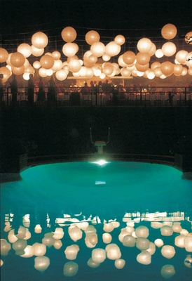 Swimming pool and paper lanterns