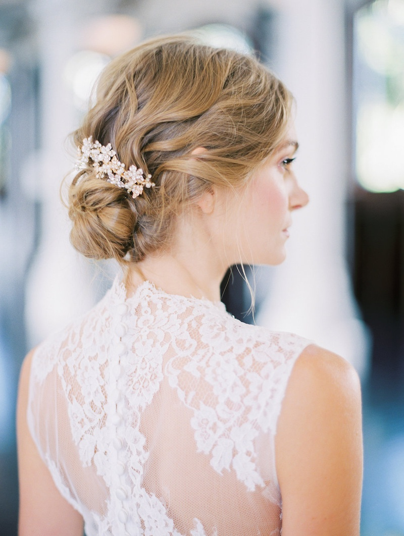 Bride in a JINZA Couture Bridal dress with chantilly lace, updo with Elizabeth Bowers hair comb