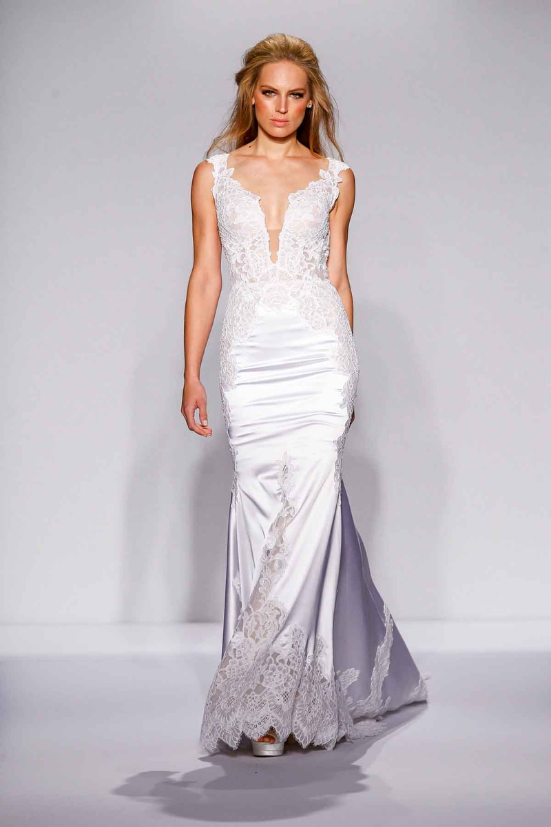 Pnina Tornai for Kleinfeld 2016 lace and satin mermaid wedding dress