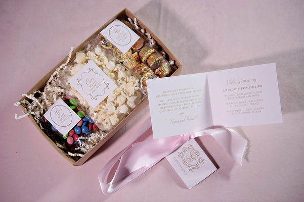 wedding welcome box with his hers and ours favorite treats white cheddar popcorn skittles candy