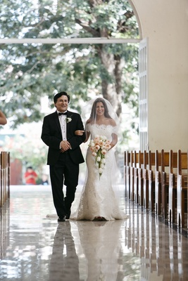 Bride in an Anna Maier ~ Ulla-Maija fit-and-flare gown with lace off-the-shoulder jacket