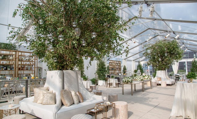 Ceremony Between Reception: Traditional Ceremony + Glamorous, Garden-Inspired Tented