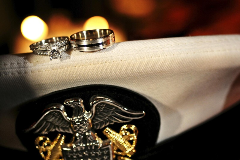 Wedding bands on US Navy hat