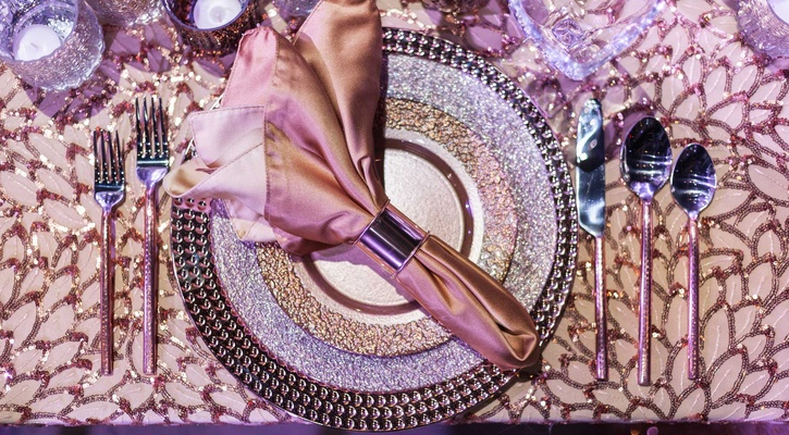 purple metallic tablescape details plates silverware linen copper wedding styled shoot sparkly girly