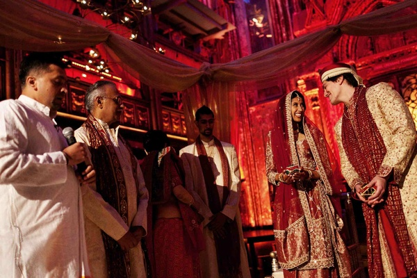 Bride and groom at Indian wedding ceremony