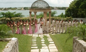 Tropical Bahamas bridesmaids and groomsmen