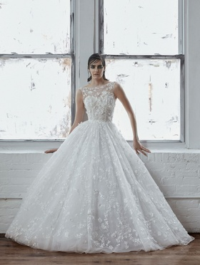 Isabelle Armstrong Fall 2018 bridal collection ball gown with bateau neckline and appliques