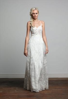 Joy Collection Barbara Kavchok Jessica wedding dress lace v neckline a line gown
