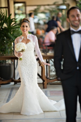 "bride in oscar de la renta ""snowflake"", mermaid gown, first look, groom in ralph lauren black label"