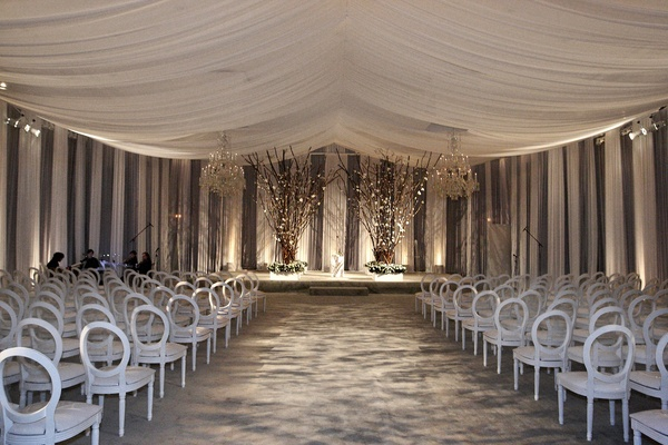 All White Indoor Wedding Ceremony Site: Modern Black & White Chicago Wedding With Hints Of Pink