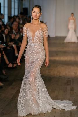 82d9103d23a8 Berta spring 2019 bridal collection wedding dress long illusion sheer  sleeves embroidery mermaid