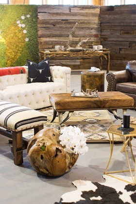 Rustic, Native American inspired decorations lounge area cocktail hour wood plank wall succulent
