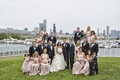 Bride and groom with Amsale bridesmaids and groomsmen