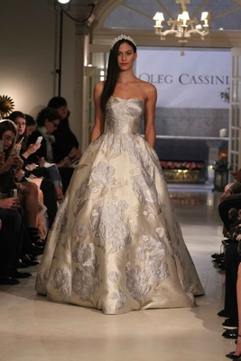 Oleg Cassini Spring 2016 Gold And Silver Ball Gown Wedding Dress