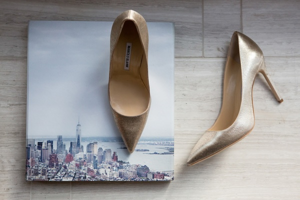 low bridal heels champagne hue color manolo blahnik shoes wedding new york city picture