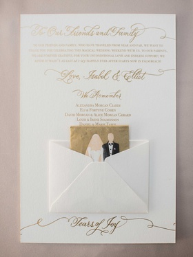 White and gold wedding ceremony program with thank you note to guests, we remember list, and tissue